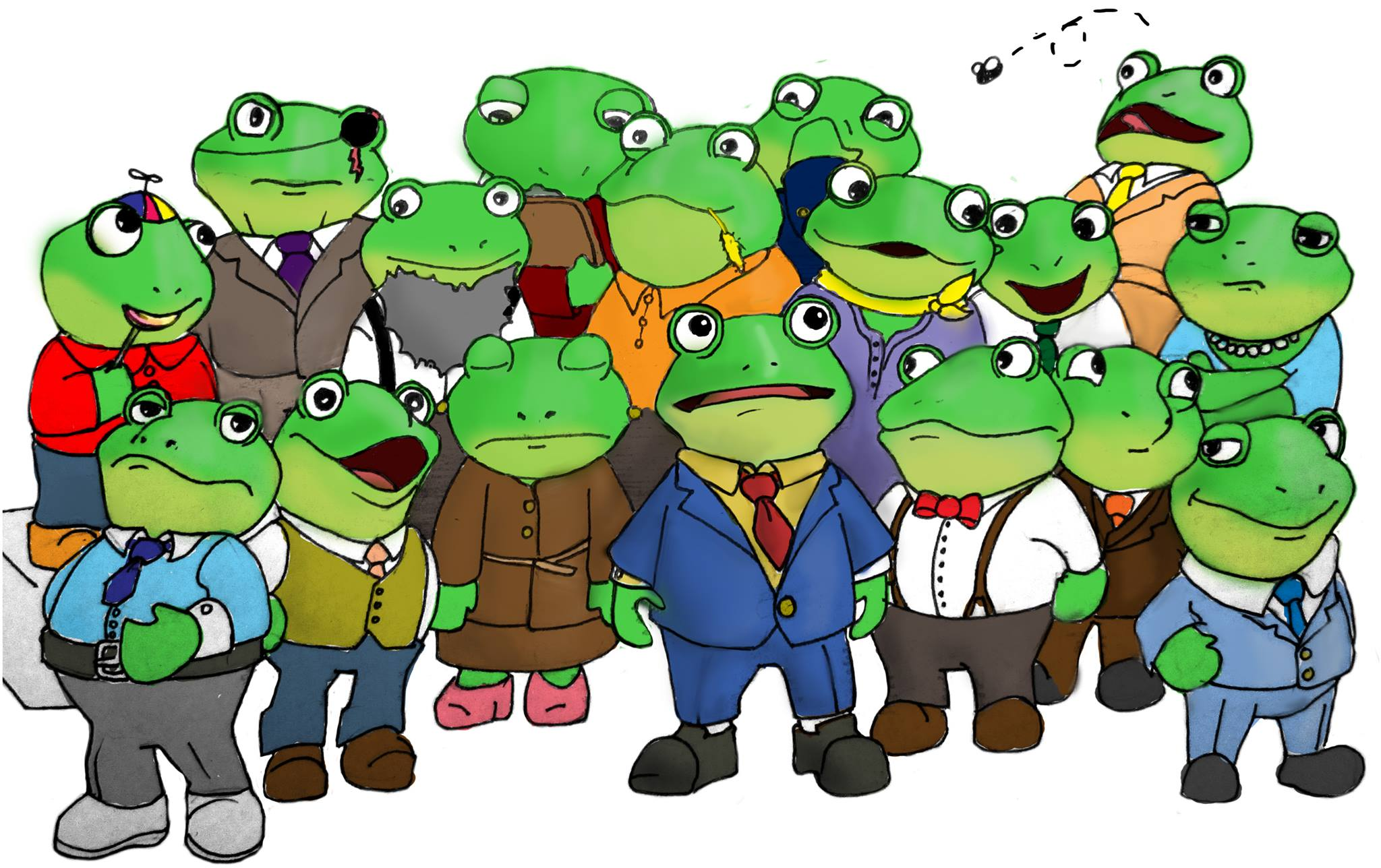Former Governor Slippy Toad poses with his extended family (Art by Liz Drybread-Matheny)